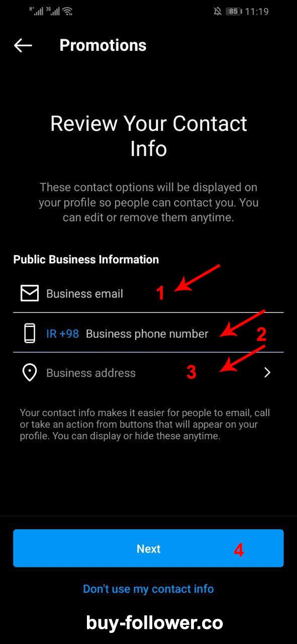 تبدیل اکانت به بیزینس اکانت - نوشتن ایمیل ، شماره و انتخاب لوکیشن