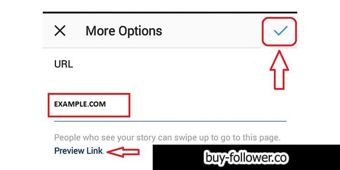 اضافه کردن لینک در استوری اینستاگرام - نوشتن ادرس لینک و انتخاب گزینه تیک