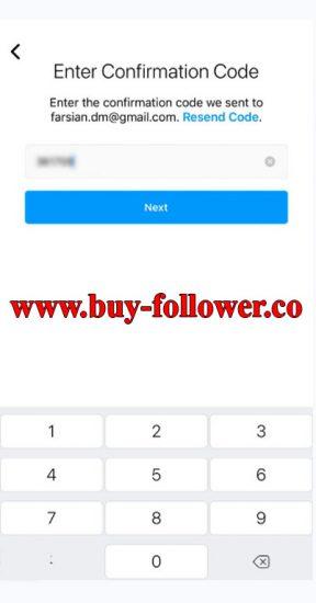 ساخت اکانت در اینستاگرام با شماره در موبایل - وارد کردن کد ورود ارسال شده