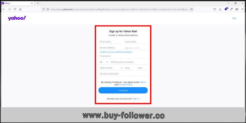 ساخت حساب کاربری در یاهو ایمیل